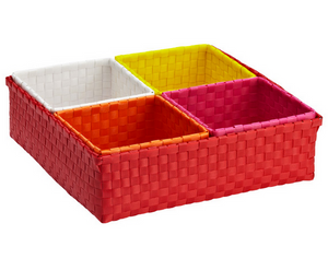 Red color block bin