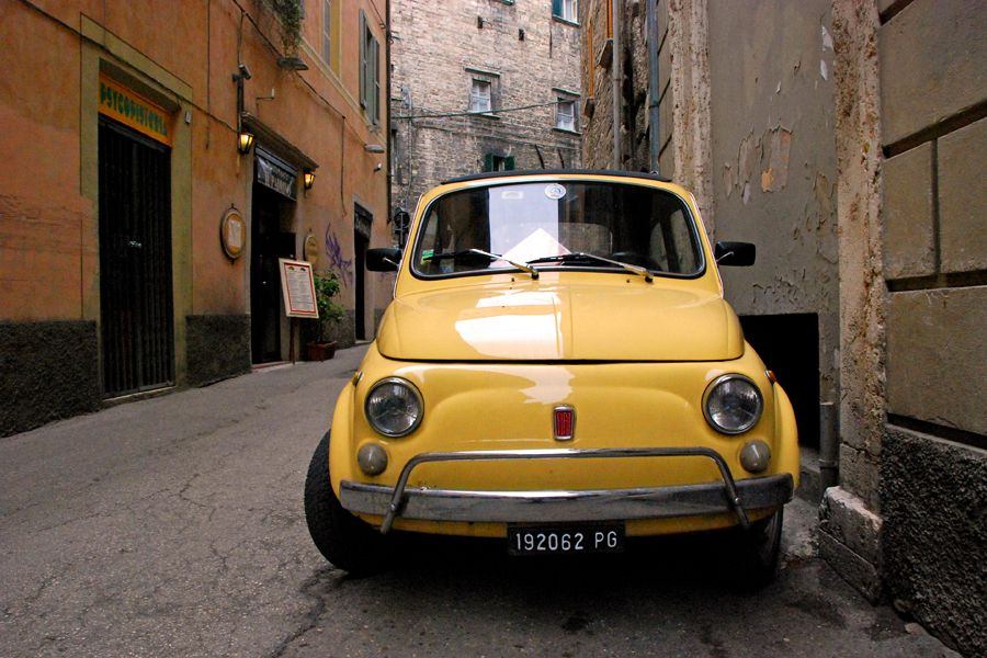 Umbria, yellow Fiat