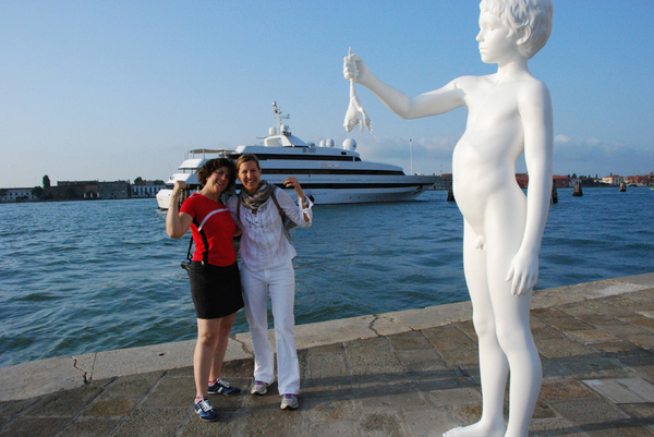 Our yacht is passing us by during our photo safari in Venice, with Charles Ray Boy with Frog.jpg