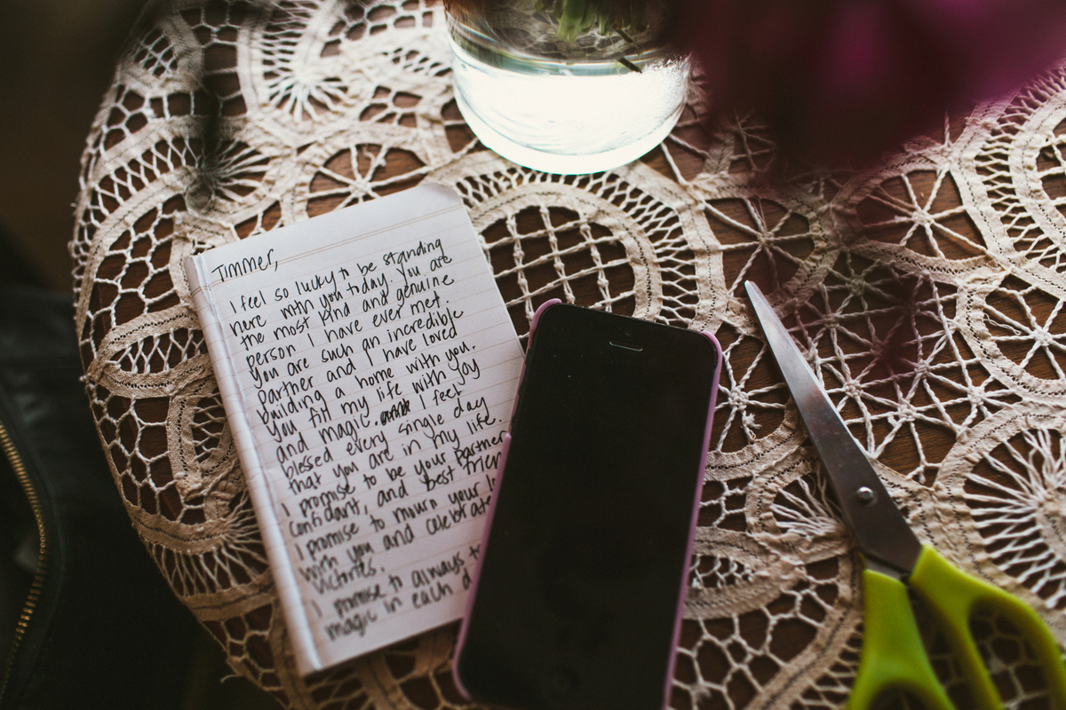 beautiful handwritten vows at wedding