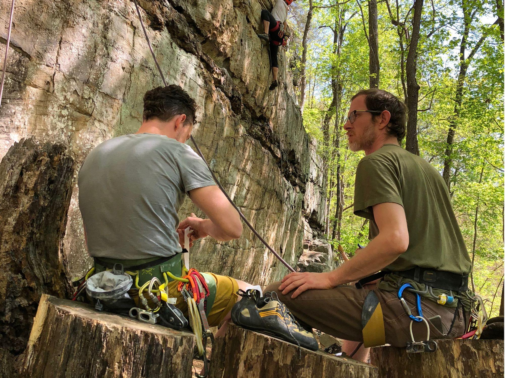Rock climbers at Foster Falls