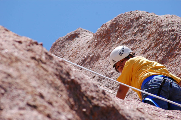 Rappelling and rock climbing at summer camp near Austin