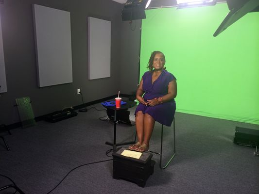 live shot studio with green screen
