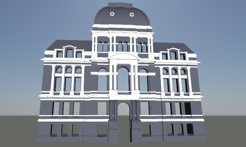 The mesh model helped the client plan for a holiday-themed 3D projection mapping demonstration on the building's façade.png