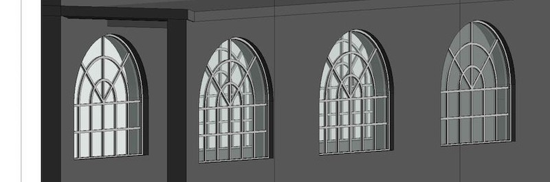 Window detail on 3D model.