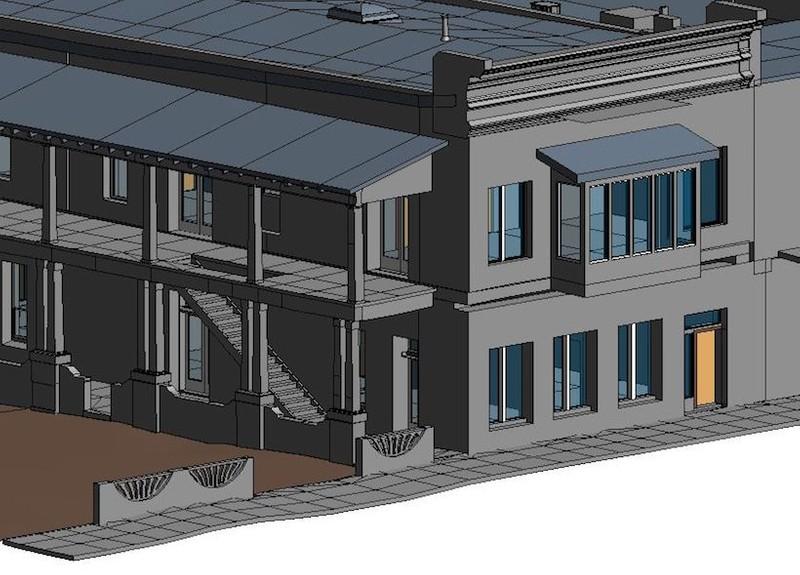Exterior view close up of 3D model
