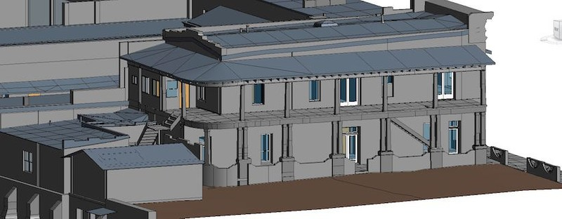 Exterior elevation view of 3D model