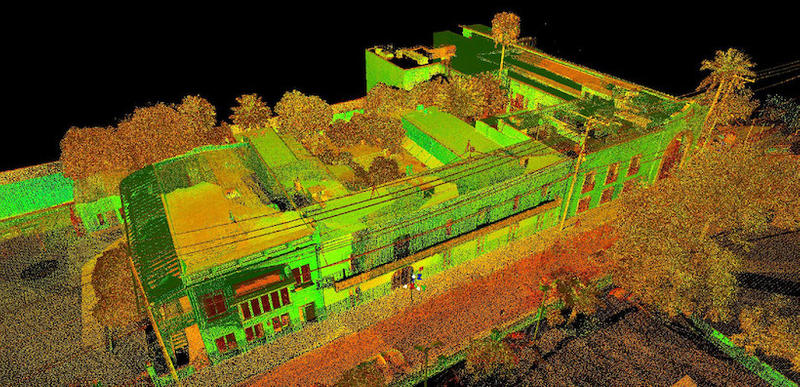 Intensity map point cloud showing the Casa Ortiz and Zaragoza House