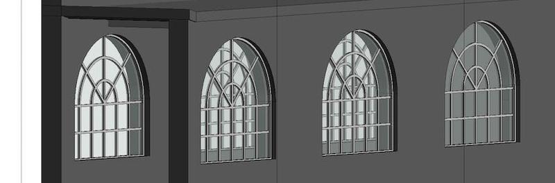 Window detail on 3D model.