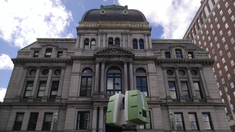 TruePoint 3D laser scanned the front façade of Providence City Hall for projection mapping.jpg