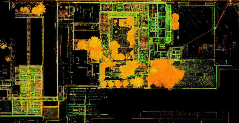 Intensity map point cloud top view of site