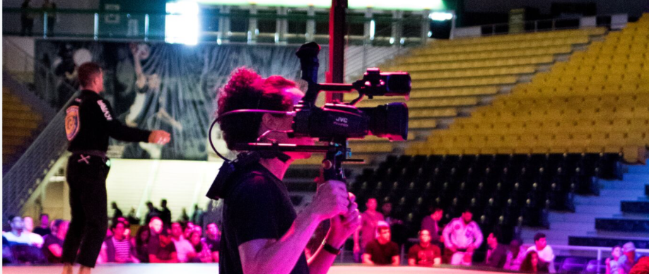 A videographer shooting an event in Los Angeles