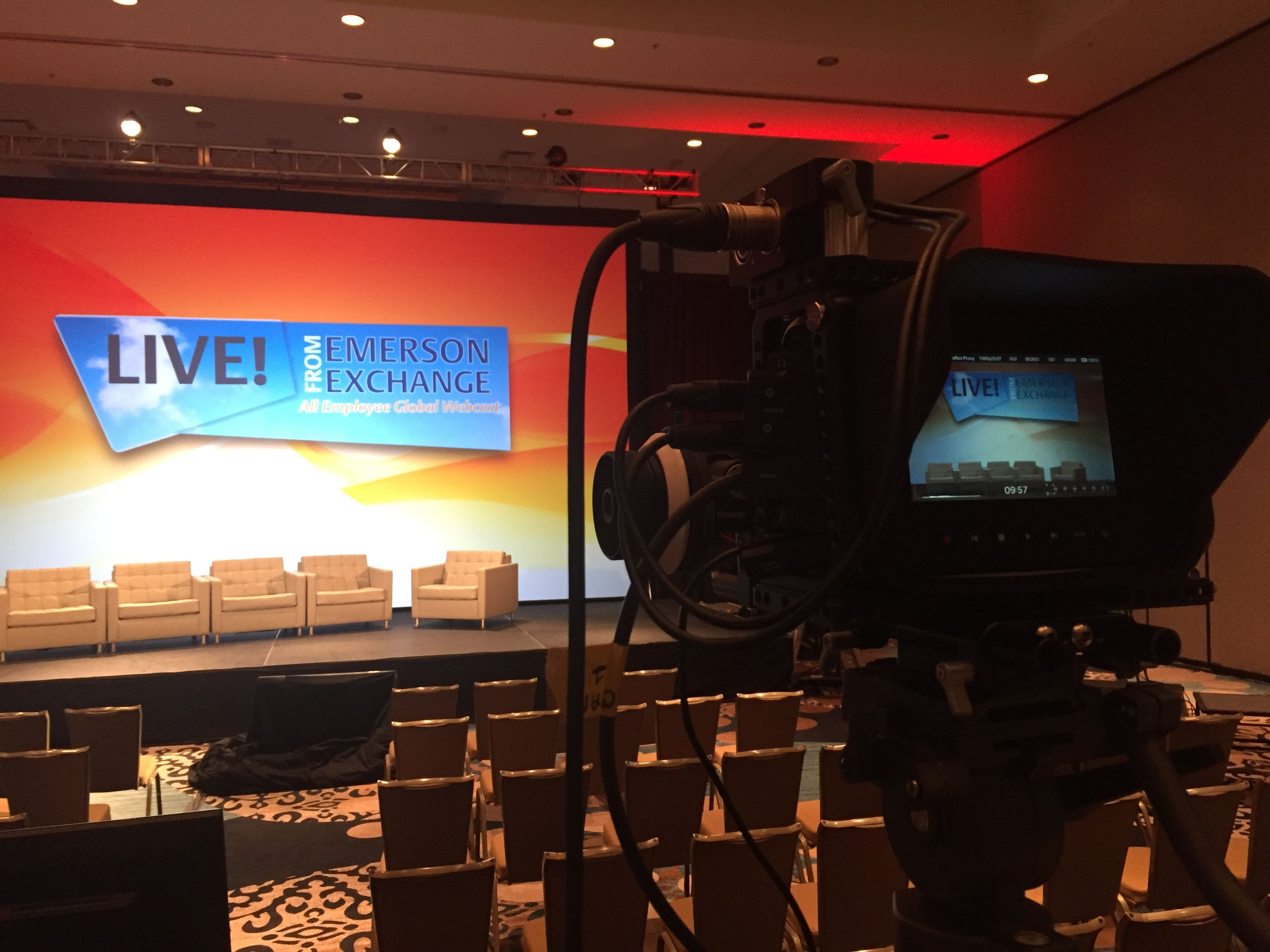 A video camera set-up at an Emerson Exchange Conference