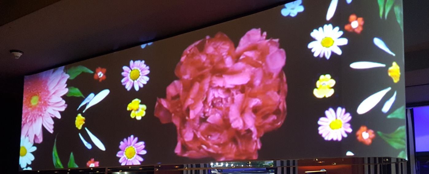 An LED video wall floral display above a bar