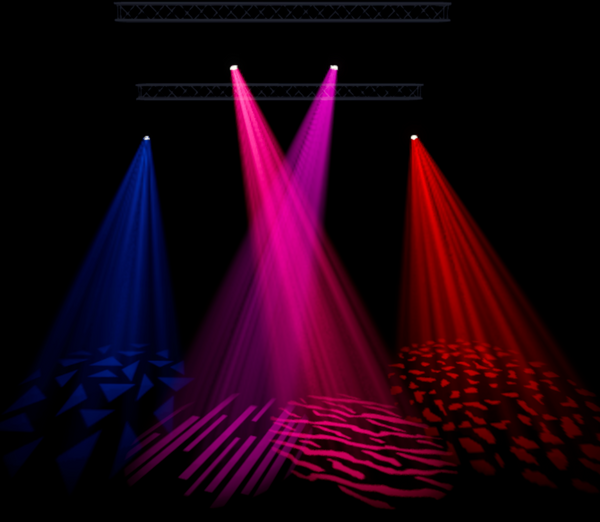 A mock-up of a blue, pink and red gobo runway by TSV Sound & Vision