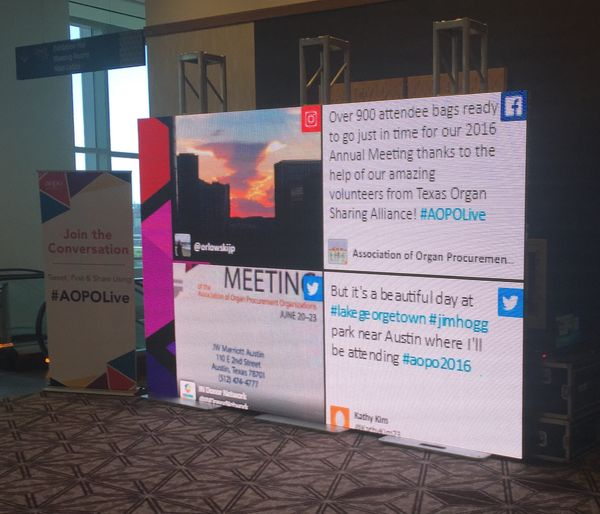An LED social media wall display at a corporate conference in Austin, Texas