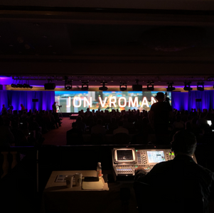 LED video wall display at a conference