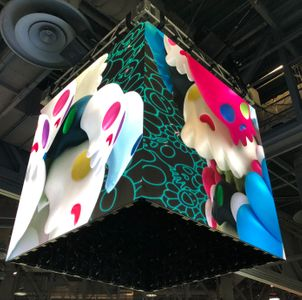 An LED cube display at ComplexCon