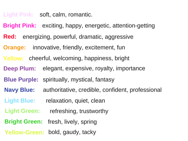A list of colors and what they represent