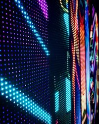 A close-up of an outdoor LED wall display