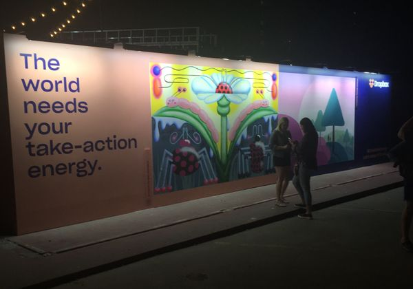 Dropbox's Mural at SXSW during the nighttime