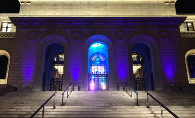 Exterior lighting on the St. Louis Public Library