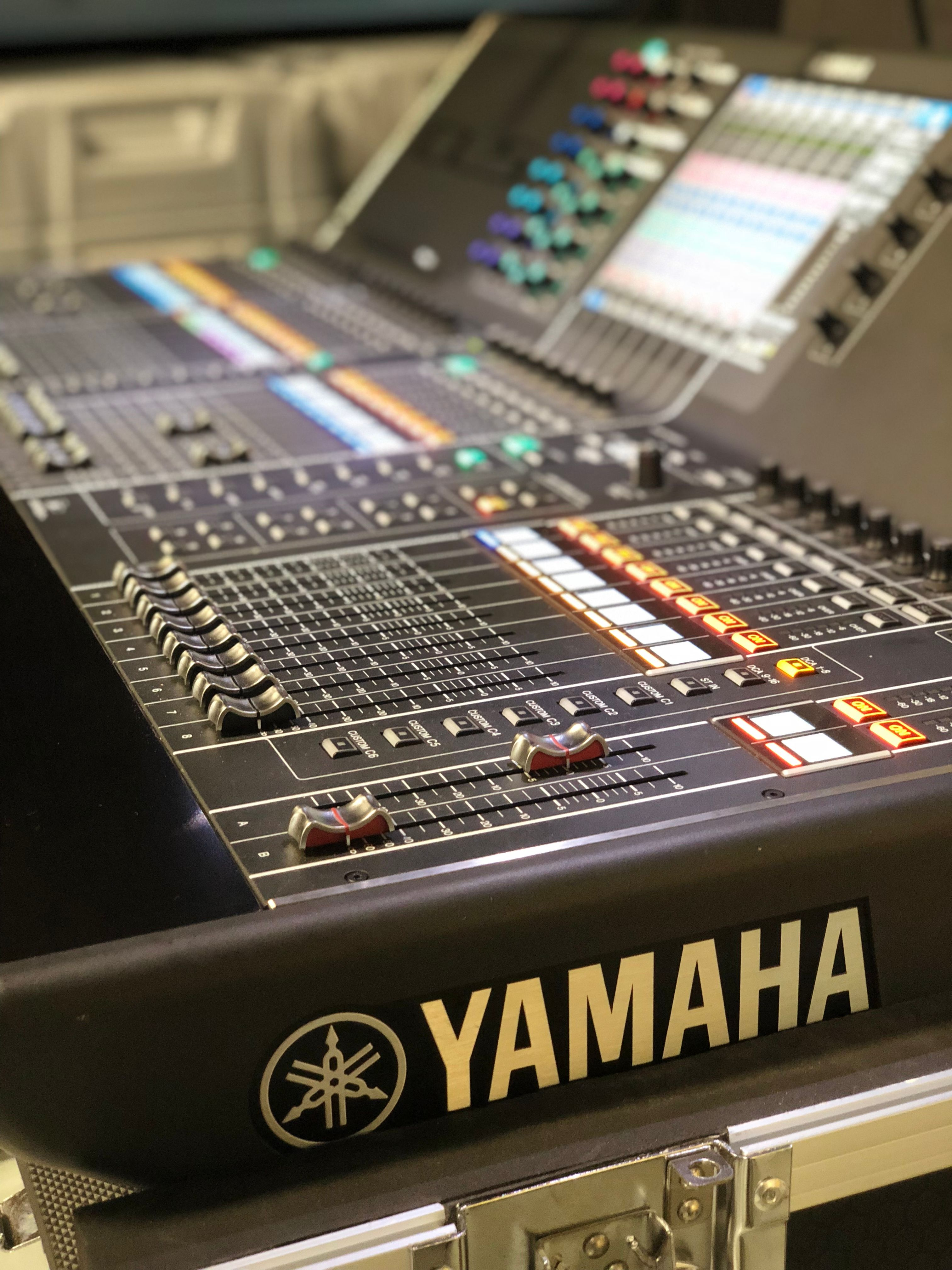 A close-up image of the Yamaha CL5 audio mixer
