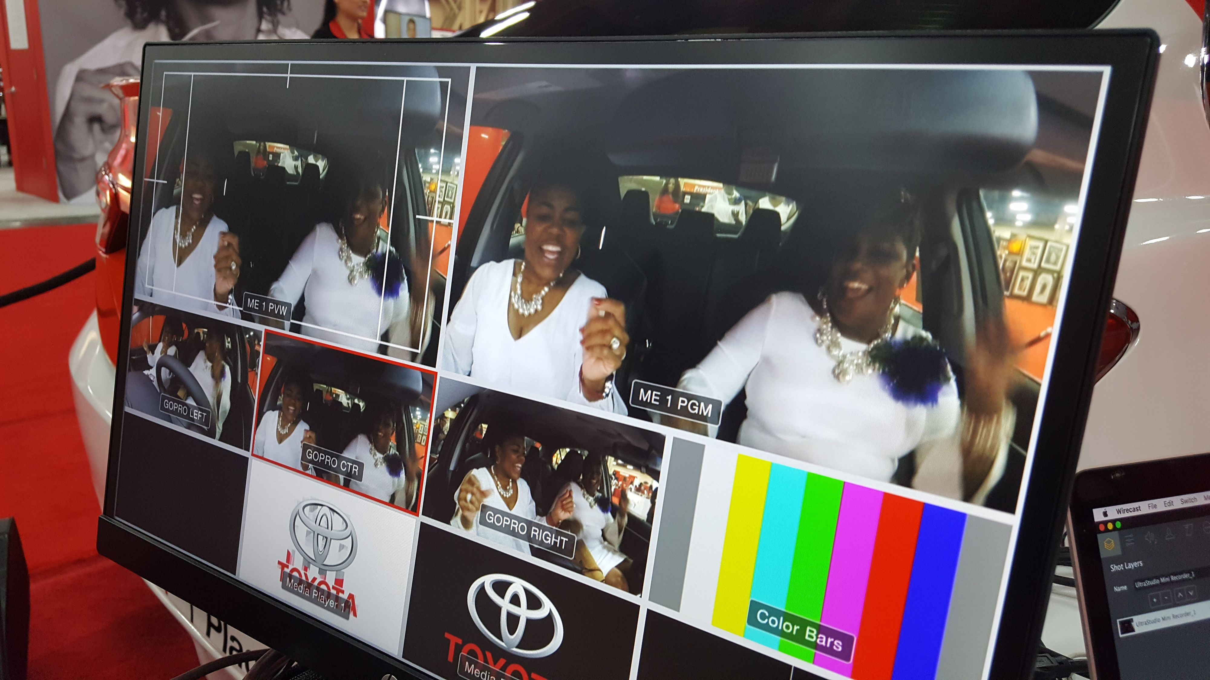 Video switcher screen of Carpool Karaoke at a convention