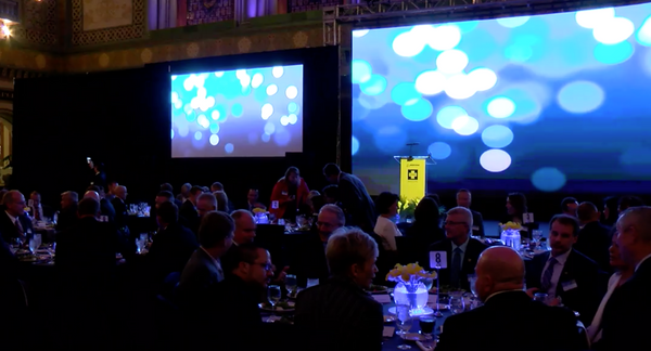 A two-screen projection display at a gala