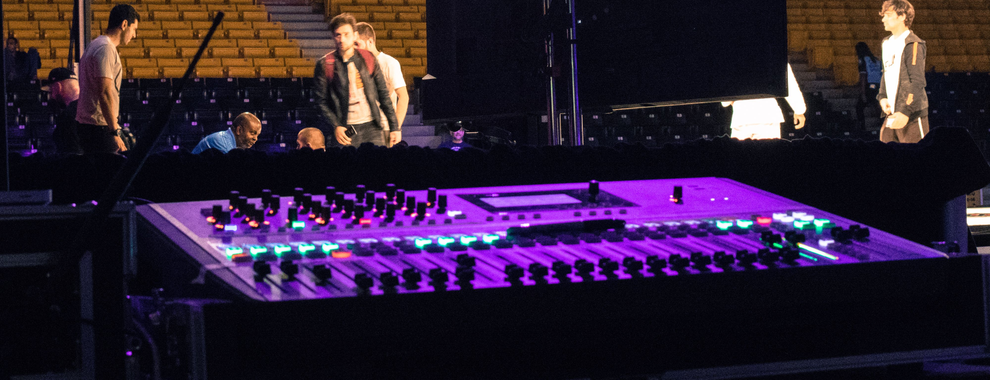 An audio mixer at a Los Angeles event