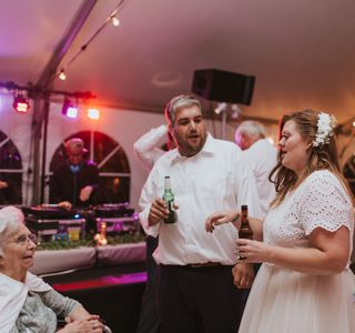 A bride and groom at their wedding with audio, video and lighting by TSV Sound & Vision