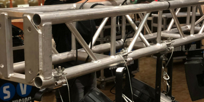 Close up of a truss at a corporate event