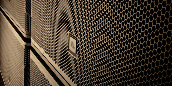 A close-up of a JBL speaker