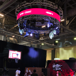 A circular truss marquee at And1's trade show booth at ComplexCon
