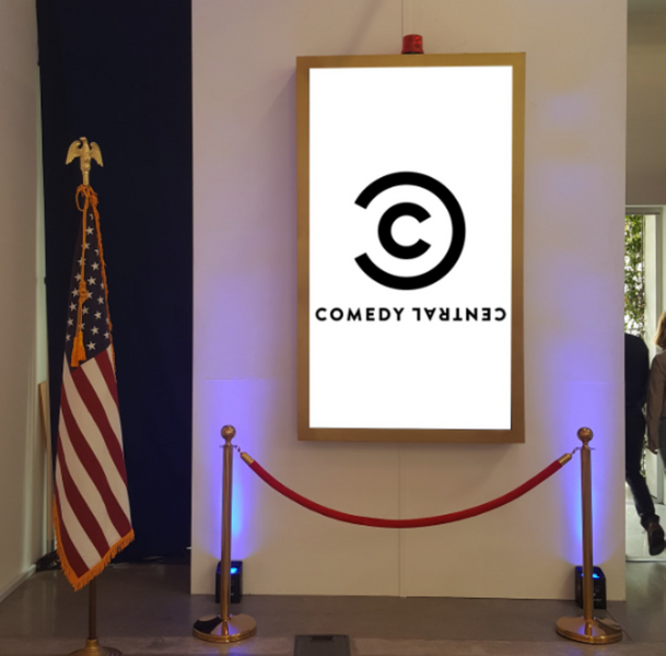 Comedy Central Trade Show Booth Vertical Display
