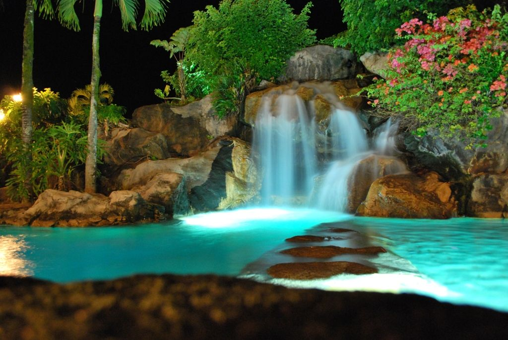 Waterfalls at the resort pool