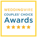 5 stars with WeddingWire Couples' Choice Awards