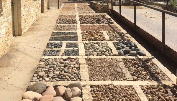 Samples of garden stones and decorative gravel