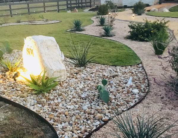 Pebbles and gravel for flower beds