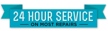 Blue banner with the text 24 hour service on most repair