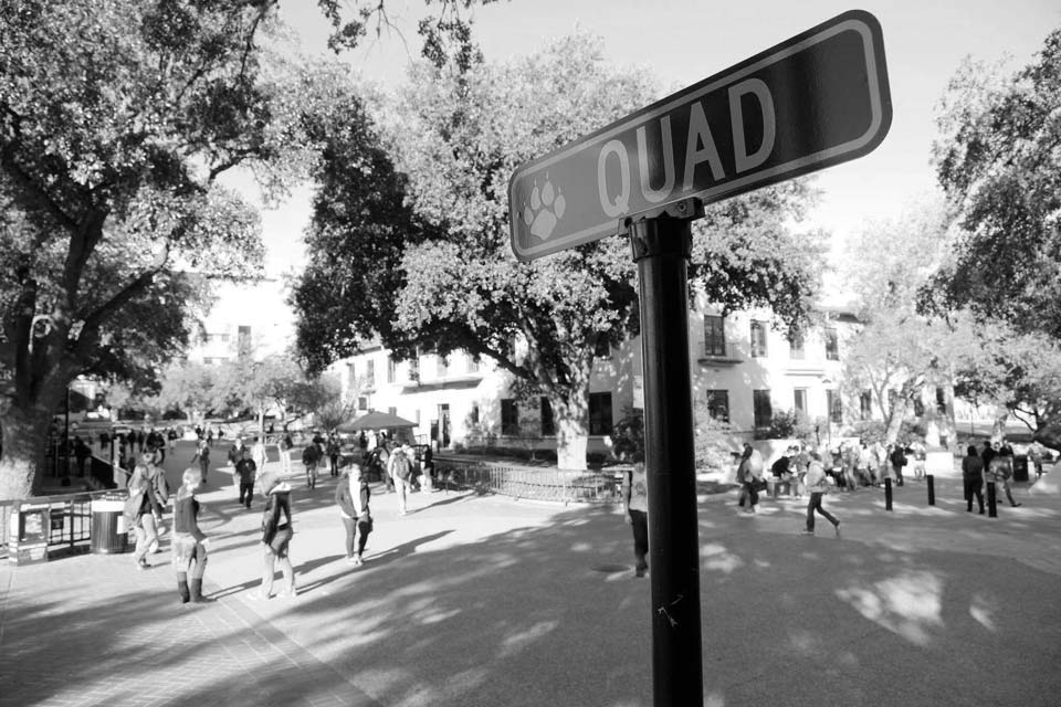 The Quad is the center of activity for Texas State students, where you'll find student organizations huddled under tree-lined sidewalks.