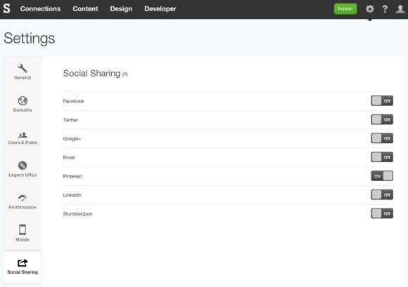 Pinterest Social Sharing settings in SpaceCraft
