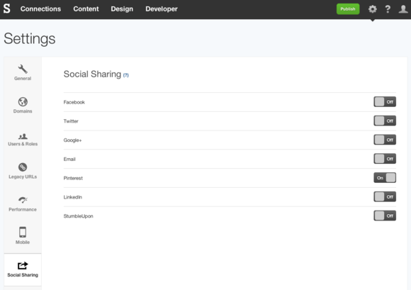Pinterest Social Sharing settings in SpaceCraft