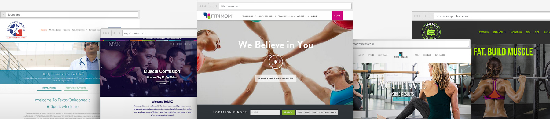Health and Fitness Website Customer Examples