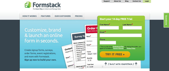 Formstack home page