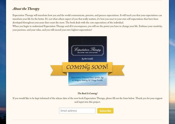 Expectation Therapy integrates MailChimp on their SpaceCraft website to capture email addresses.
