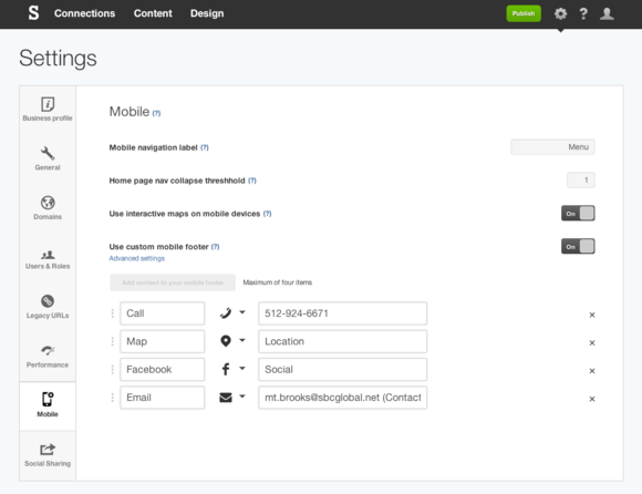 Custom mobile footer on responsive website