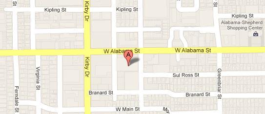 Map to 2415 Alabama Street, office of Dr. David Hassid, DMD