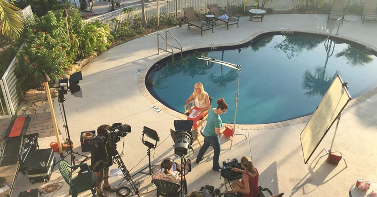 Media tour at outdoor pool