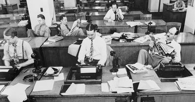 Image of a newsroom from the 60s